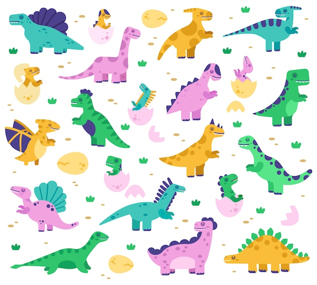 Hand drawn dinosaurs. cute dino baby in eggs, jurassic era dinosaur characters, diplodocus and tyrannosaurus   illustration set. diplodocus and dinosaur reptile colored for kids