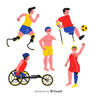 Hand drawn disabled athlete collection