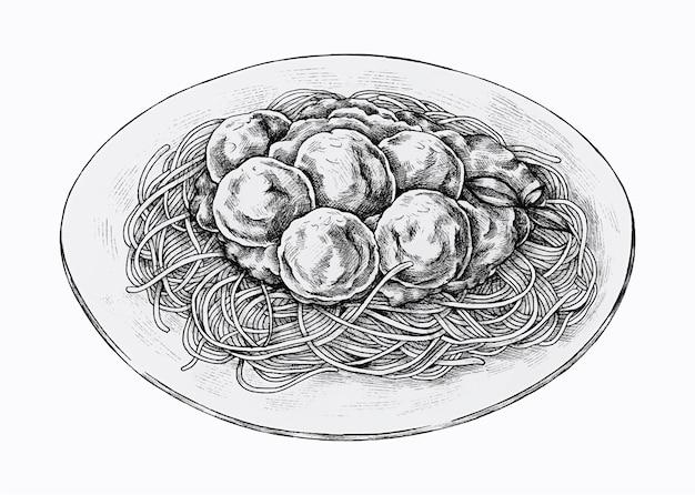 Hand drawn dish of spaghetti with meatballs