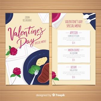 Ручной обращается блюдо валентина шаблон меню