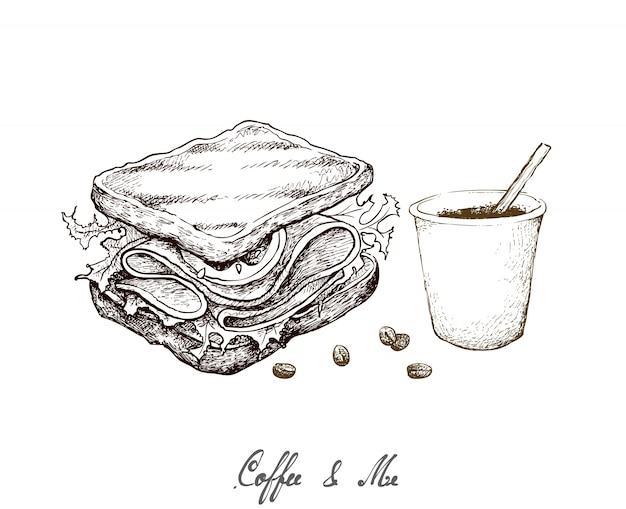 Hand drawn of disposable coffee cup with grilled sandwich