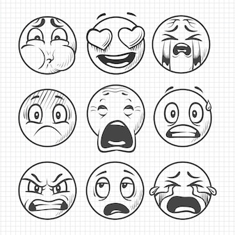 Hand drawn dissatisfied sad faces, smiles vector set