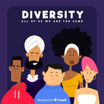Hand drawn diversity concept background