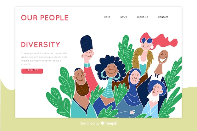 Hand drawn diversity concept landing page
