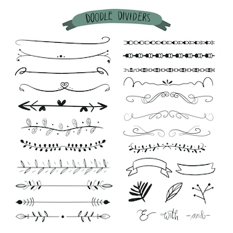 Hand drawn dividers. doodle set of lines, borders arrow.