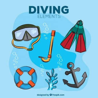 Hand drawn diving elements with anchor