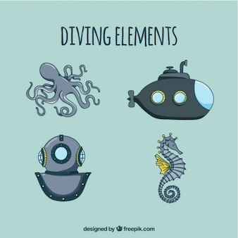 Hand drawn diving elements
