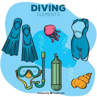 Hand drawn diving equipment under the sea