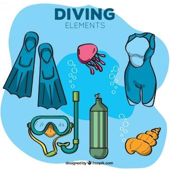 바다에서 손으로 그린 다이빙 장비