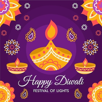 Hand drawn diwali background with candles
