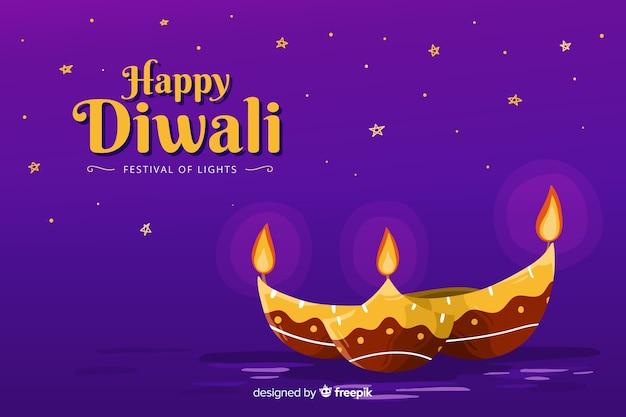 Hand drawn diwali background with flat design