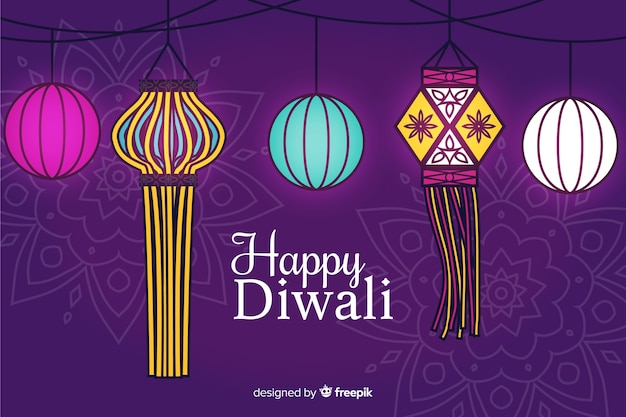 Hand drawn diwali background with lamps