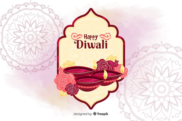 Hand drawn diwali background