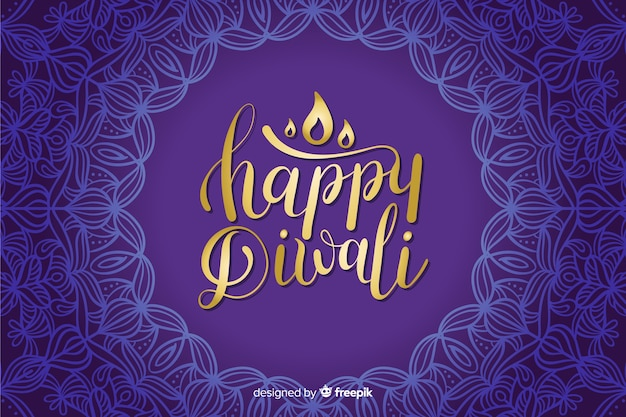 Hand drawn diwali blue lettering background
