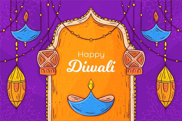 Hand drawn diwali concept