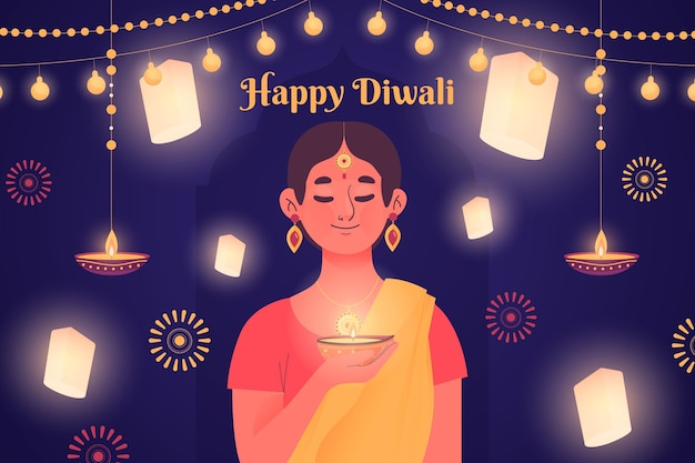 Concetto di diwali disegnato a mano