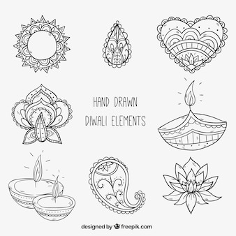 Hand drawn diwali decorative elements
