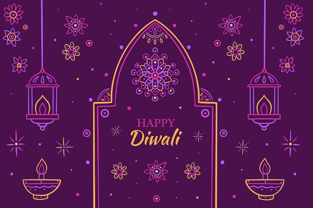Hand drawn diwali illustration