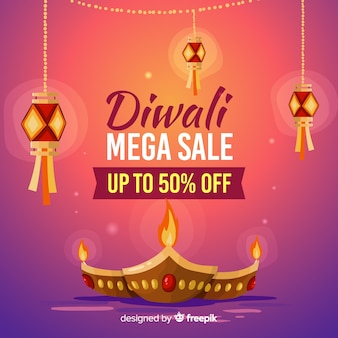 Hand drawn diwali sale banner