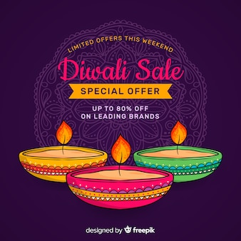Hand drawn diwali sale and candles in the night