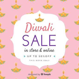 Hand drawn diwali sale design