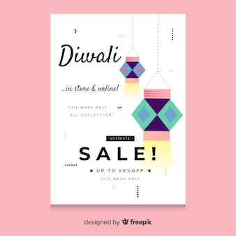 Hand drawn diwali sale flyer template