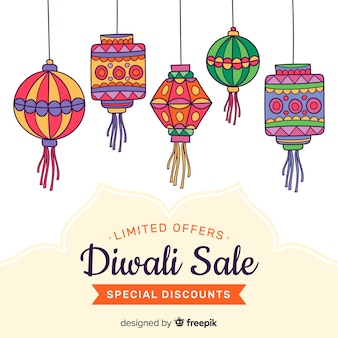 Hand drawn diwali sale and paper ornaments