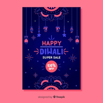 Hand drawn diwali sale poster template