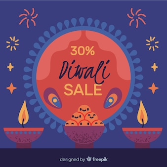 Hand drawn diwali sale with 30% discount