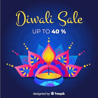 Hand drawn diwali sale with 40% off and candle