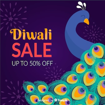 Hand drawn diwali sale with 50% off and peafowl