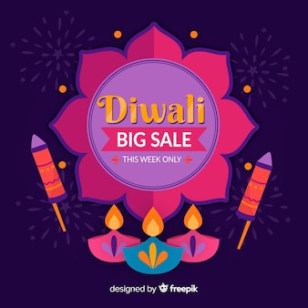 Hand drawn diwali sale with candles and fireworks
