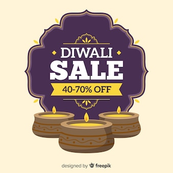 Hand drawn diwali sale with candles