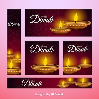 Hand drawn diwali web banners