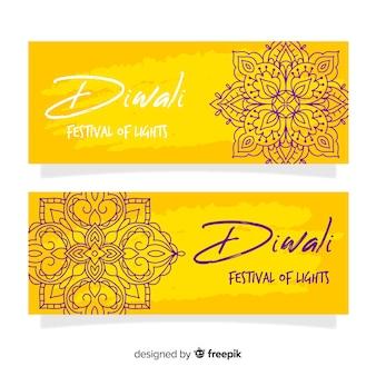 Hand drawn diwali web banners