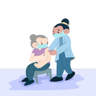 Medico disegnato a mano che inietta il vaccino a un paziente