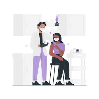 손으로 그린 된 의사가 환자에게 백신을 주입