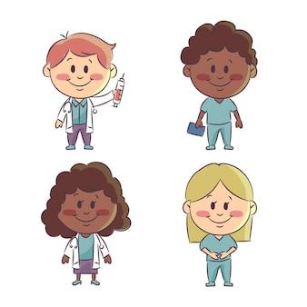 손으로 그린 의사 및 간호사 그림