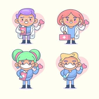 Рисованные врачи и медсестры