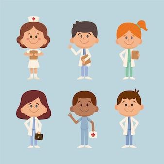 Raccolta disegnata a mano di medici e infermieri