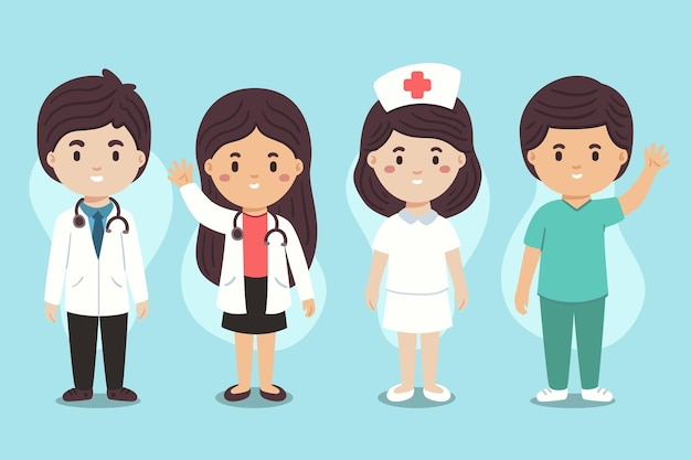 Hand drawn doctors and nurses illustration