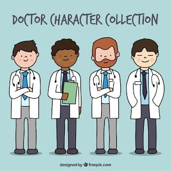 Рисованные врачи со стетоскопом