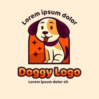 手描きの犬の動物のロゴ