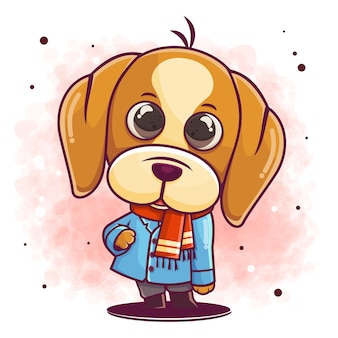 スタイリッシュな冬の衣装のイラストで手描きの犬の漫画