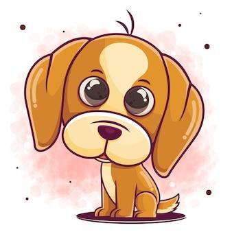 座っている手描きの犬の漫画