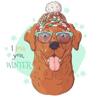 Ручной обращается портрет собаки с рождественскими аксессуарами вектор
