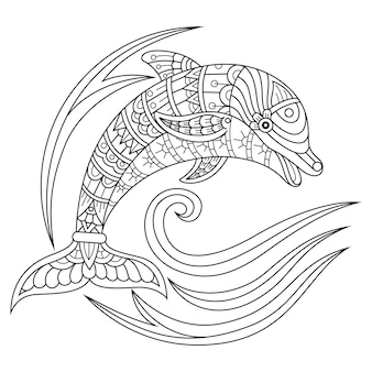 Hand drawn of dolphin in zentangle style