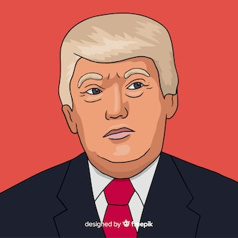 Hand drawn donald trump portrait