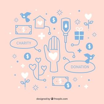 Hand drawn donation elements background