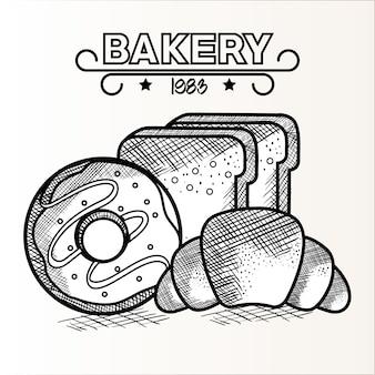 Рисованный пончик и хлеб с выпечкой